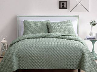 3pc King Nina Embossed Quilt Set Green   VCNY Home