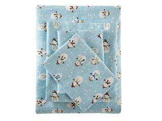 Flannel Print Full Sheet Set  Blue Snowmen