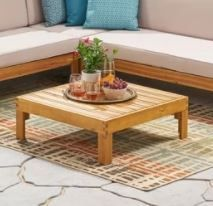 linwood Outdoor Wood And Wicker 29 5  X 29 5  Table
