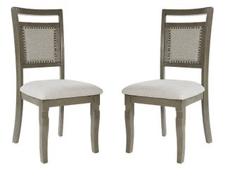 OSP Designs Palma Dining Chair 2 CTN in Antique Grey Finish  Slight Damage  See Pictures