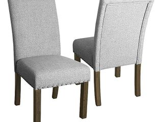 HomePop Michele Dining Chair with Nailhead Trim  Set of 2  One Chair Damaged  See Pictures