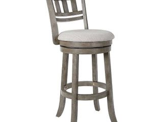 Swivel Stool 30  with Slatted Back in Antique Grey Finish