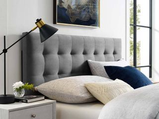 Full lily Biscuit Tufted Performance Velvet Headboard Gray   Modway