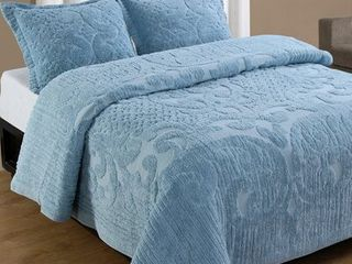 Better Trends Ashton Collection in Medallion Design 100  Cotton Tufted Chenille  Twin Bedspread  Blue