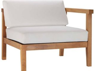 MODWAY Bayport Natural Teak Right Arm Outdoor lounge Chair with White Cushions