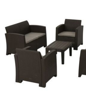 Daytona Outdoor 4 piece Chair Set with Sofa and Cushions by Christopher Knight Home   Retail 776 49