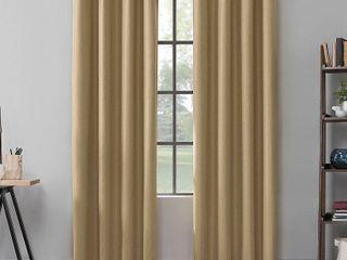 Mavis Herringbone Total Blackout Grommet Curtain Panel Pair  Yellow  Scott living