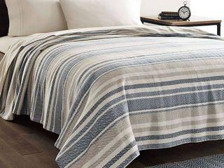 Eddie Bauer Herringbone Stripe Blue Full Queen Blanket