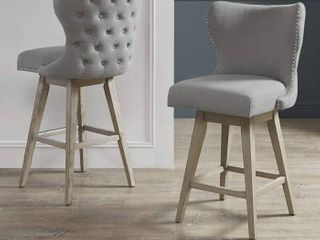 Madison Park Irvine High Wingback Button Tufted Upholstered 32 Inch Swivel Counter Bar Stool  Retail 235 16