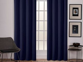 Sateen Twill Weave Insulated Blackout Grommet Top Window Curtain Panel Pair  Blue   Exclusive Home