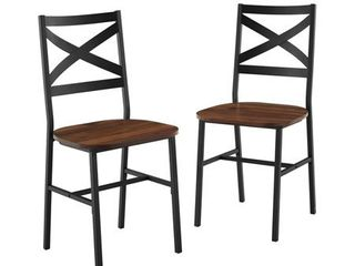 Industrial Wood Dining Side Chairs Set of 2  Damage to Both Seats    Dark Walnut