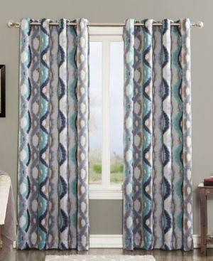 Henniker Watercolor Wave Room Darkening Grommet Curtain Panel linen Pair  Sun Zero