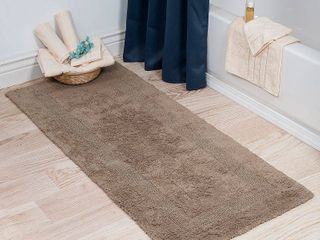 Reversible long Bath Rug in Taupe  24  x 58