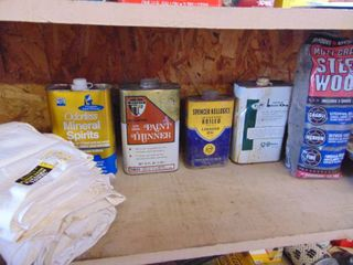 Steel Wool  linseed Oil  Spirits and Thinner  almost empty   3rd Shelf