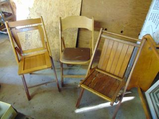 3 Wooden Folding Chairs