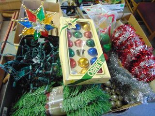 2 Boxes of Garland  lights  Ornaments and Topper