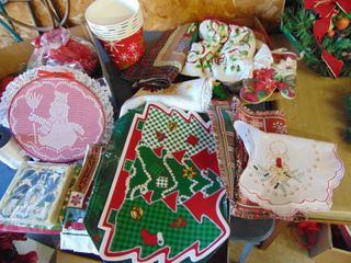 large lot of Christmas Table Covers  Place mats and Towels