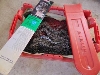 Assortment of Chainsaw Chains in Coca Cola Crate
