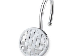 12pc Woven Shower Hooks light Silver   Elegant Home Fashion