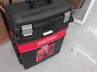 CRAFTSMAN 22 in 1 Drawer Red Plastic  Metal Wheels lockable Tool Box