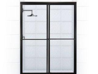 Coastal Shower Doors Newport 56 in  to 57 625 in  x 70 in  Framed Sliding Shower Door with Towel Bar in Matte Black and Aquatex Glass