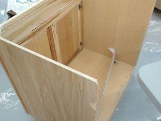 35  3 4  x 35    light Barnyard Wood Vanity    No Back   Slightly Damaged