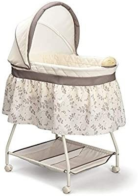 Delta Children Deluxe Sweet Beginnings Bedside Bassinet   Portable Crib with lights and Sounds  Falling leaves