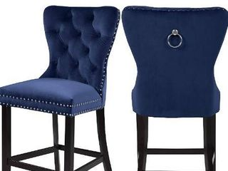 Meridian Furniture Nikki Collection Modern   Contemporary Velvet Upholstered Counter Stool with Wood legs  Button Tufting  and Chrome Nailhead Trim  Set of 2  Navy  21  W x 24 5  D x 43  H