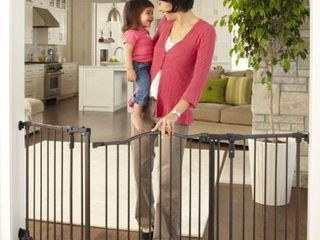 Toddleroo by North States 72a wide Deluxe DAccor Baby Gate  Sturdy extra wide baby gate with one hand operation  Hardware Mount  Fits 38 3   72a Wide   30  Tall  Matte Bronze