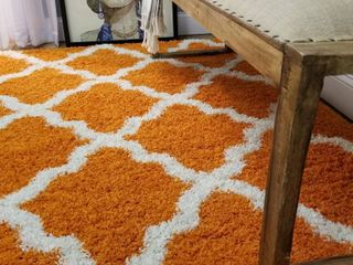 Maxy Home Bella Trellis Orange 3 ft  3 in x 4 ft  8 in  Shag Area Rug