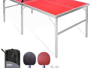 GoSports 6ax3a Mid size Table Tennis Game Set Indoor   Outdoor Portable Table Tennis Game with Net  2 Table Tennis Paddles and 4 Balls  Small Dent In Side