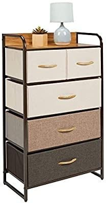 Mdesign Tall Dresser Storage Chest   Sturdy Steel Frame  Wood Top   Handles