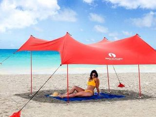 Red Suricata Family Beach Sunshade   Sun Shade Canopy   UPF50 UV Protection   Tent with 4 Aluminum Poles  4 Pole Anchors  4 Sandbag Anchors   large   Portable Shelter Blue