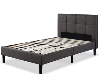 Zinus Upholstered Square Stitched Platform Bed With Wooden Slats  twin