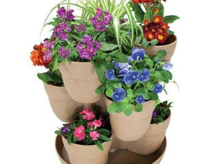 Bloomers Stackable Flower Tower Planter a Holds up to 9 Plants a Great Both Indoors and Outdoors a Sand