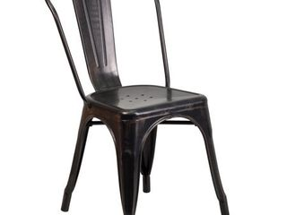 Flash Furniture Black Antique Gold Metal Indoor Outdoor Stackable Chair