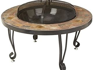 Amazonbasics Natural Stone Fire Pit With Copper Accents  86 Cm  Factory Sealed   Box Shipping Damage   Opened To Inspect
