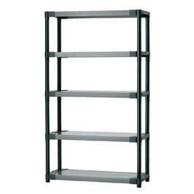 Blue Hawk 70 in H x 42 in W x 16 in D 5 Tier Plastic Freestanding Shelving Unit