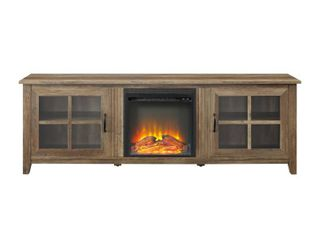 70  Glass Door Fireplace TV Console   Birch