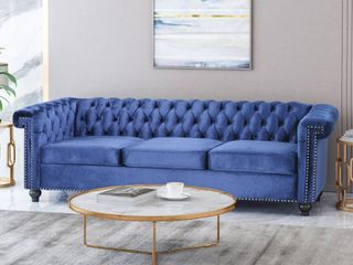 Noble House Home Furnishings Midnight Blue Tufted Couch