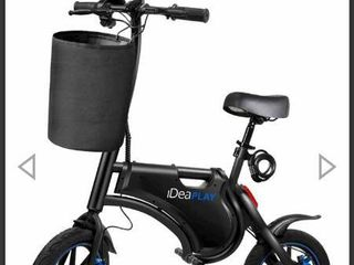 iDeaPlAY P10 Plus Foldable Electric Bike with Basket   Bike lock   Black