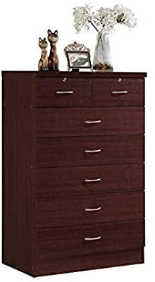 Hodedah Import 7 Drawer Chest  Chocolate