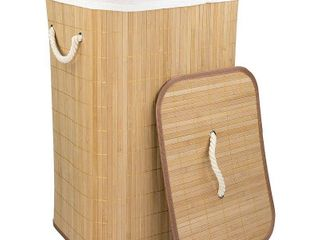 Home Basics Rectangular Bamboo Hamper  Natural