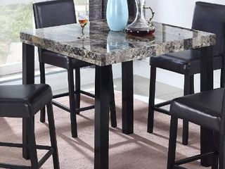 Best Master Furniture Britney Transitional Faux Marble Top Counter Table  Espresso Finish
