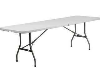 Flash Furniture 8 Foot Bi Fold Granite White Plastic Banquet and Event Folding Table with Carrying Handle