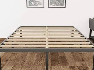 3800lbs Heavy Duty 14 Inch Steel   Wooden Slat Support Reinforced Platform Bed Frame Mattress Foundation No Box Spring Needed Easy Assembly Noise Free Twin Twin Xl Full King California King  Queen