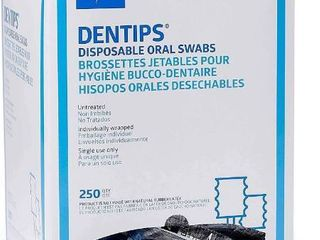 Medline Industries MDS096208 DenTips Oral Swabsticks  Untreated  Blue  Pack of 500