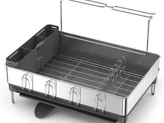 Kitchen Steel Frame Dish Rack With Swivel Spout  Fingerprint Proof Stainless Steel Frame