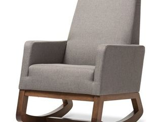 Baxton Studio BBT5199 Grey Yashiya Mid century Retro Modern Grey Fabric Upholstered Rocking Chair