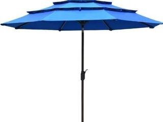 EliteShade Sunbrella 9Ft 3 Tiers Market Umbrella Patio Outdoor Table Umbrella with Ventilation  Royal Blue